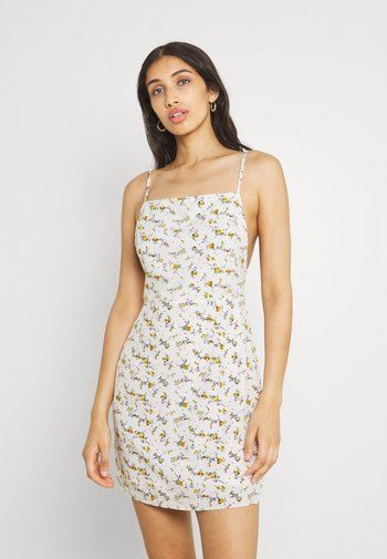 FLORAL STRAPPY CAMI DRESS - Kjole - white