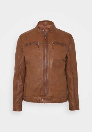 GILLES - Leather jacket - cognac