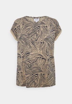 VMAVA PLAIN - Print T-shirt - beige/dark blue