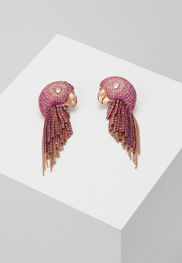 TROPICAL PARADISE PARROT FRINGE EARRINGS - Pendientes - pink/multi