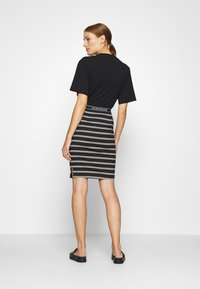 Calvin Klein Jeans - LOGO STRIPE MILANO SKIRT - Pencil skirt - black/creamy white - 2