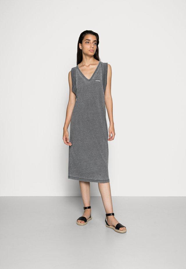 BURN OUT V-NECK DRESS - Jersey dress - black