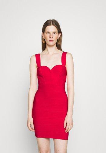 HERVE LEGER X JULIA RESTOIN ROITFELD SWEETHEART CORSET MINI DRESS - Pouzdrové šaty - rio red