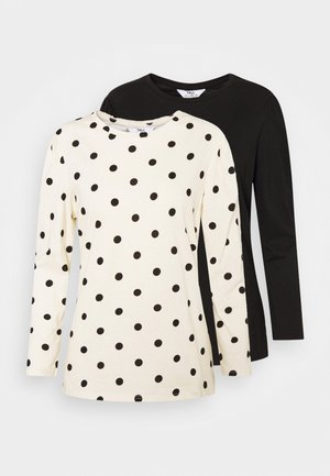 PLAIN AND SPOT PUFF SLEEVE 2 PACK - Long sleeved top - black
