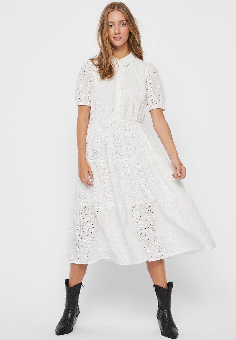 Vero Moda - STICKEREI - Maxi dress - snow white