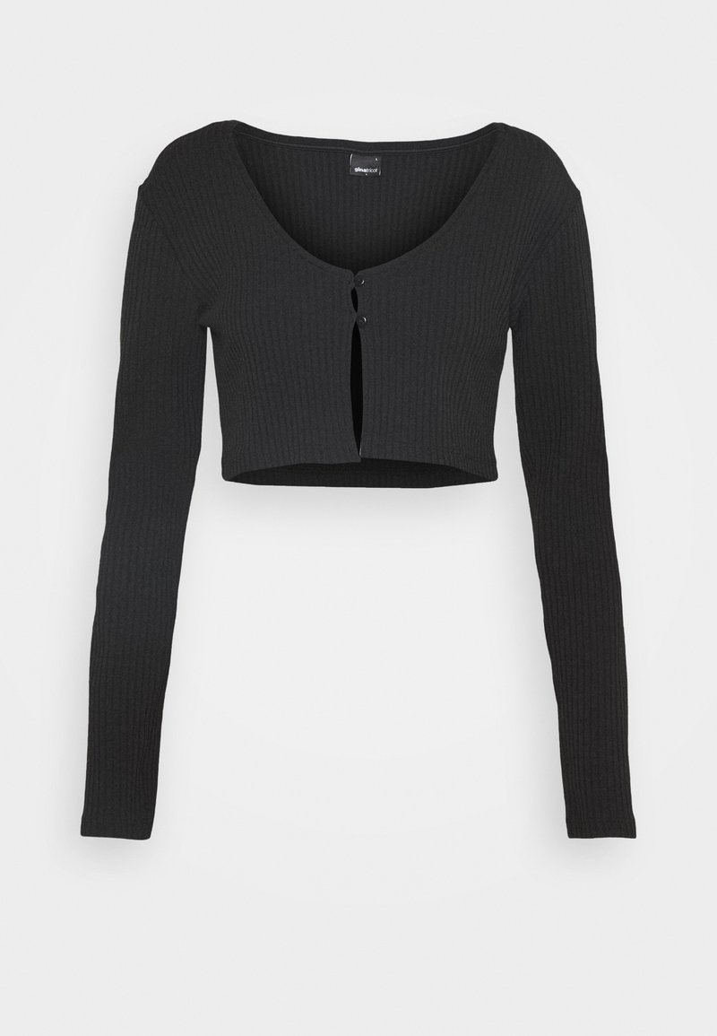 Gina Tricot - ELLA CROPPED CARDIGAN - Vest - black