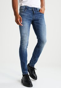G-Star - 3301 DESCONSTRUCTED SUPER SLIM - Jeans Skinny - medium indigo aged - 0