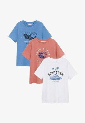 3 PACK - Print T-shirt - gebroken wit