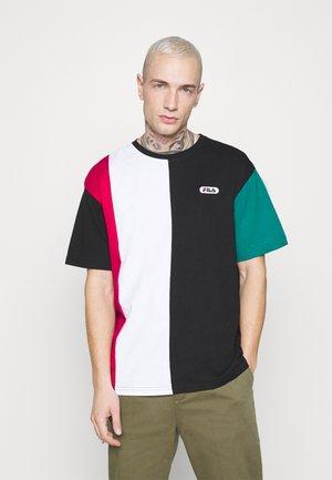 BANSI BLOCKED TEE - T-shirt con stampa - black/teal green/bright white/cerise