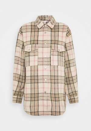LONG CHECK SHIRT - Button-down blouse - beige/black