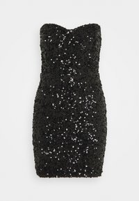 Missguided - ALL OVER SEQUIN BANDEAU MINI DRESS - Cocktail dress / Party dress - black - 1
