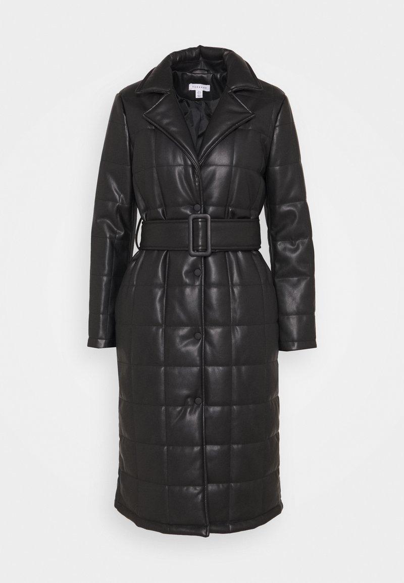 Topshop - QUILTED COAT - Classic coat - black