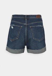 Hollister Co. - MOM CURVY DARK DEST  - Denim shorts - dark destroy - 6