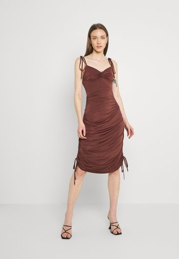 RUCHED DRAPY DRESS - Jerseykjole - chocolate