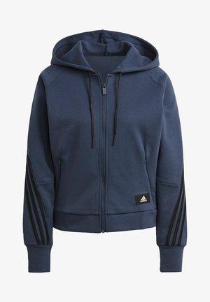 ADIDAS SPORTSWEAR WRAPPED 3-STRIPES FULL-ZIP HOODIE - veste en sweat zippée - blue