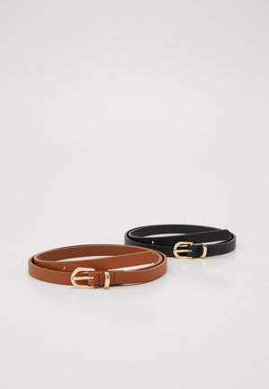 2 PACK - Belte - black/cognac