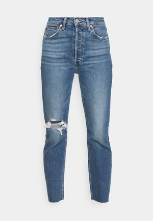 HIGH RISE ANKLE CROP - Jeans Tapered Fit - vintage indigo