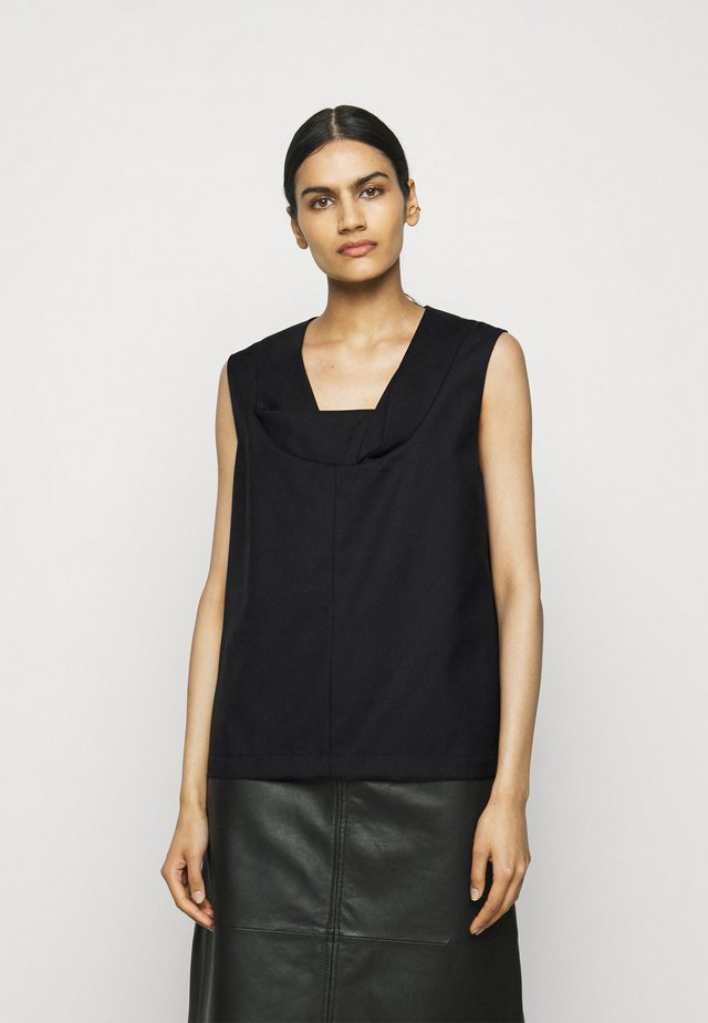 SERGE FOLDED NECKLINE - Blouse - black