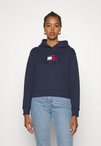 Tommy Jeans - FLAG HOODIE - Sweat à capuche - twilight navy - 0