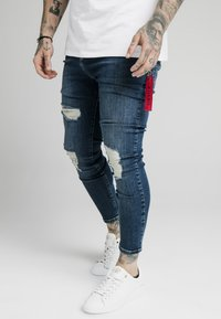 SIKSILK - DISTRESSED  WITH ZIP DETAIL - Jeans Skinny Fit - midstone blue - 0