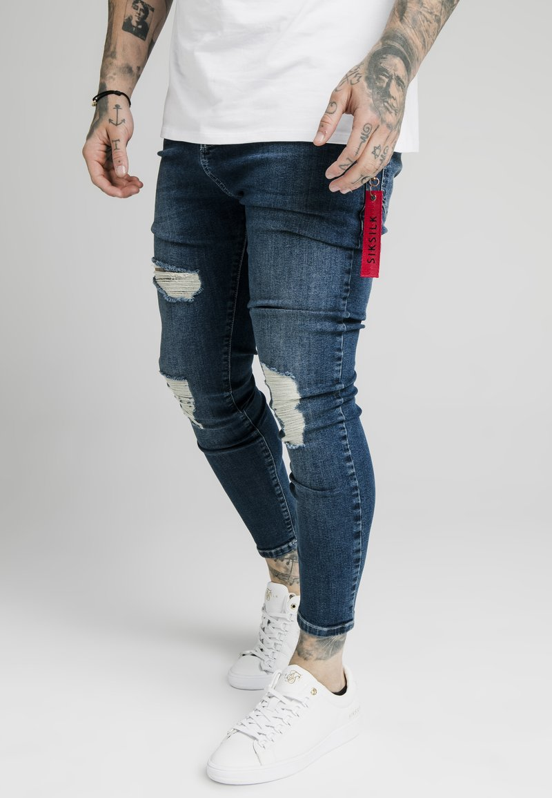 SIKSILK - DISTRESSED  WITH ZIP DETAIL - Jeans Skinny Fit - midstone blue