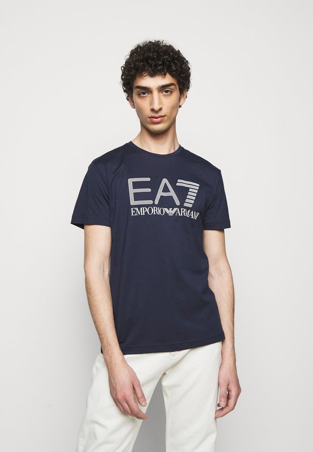 T-shirt print - dark blue/white