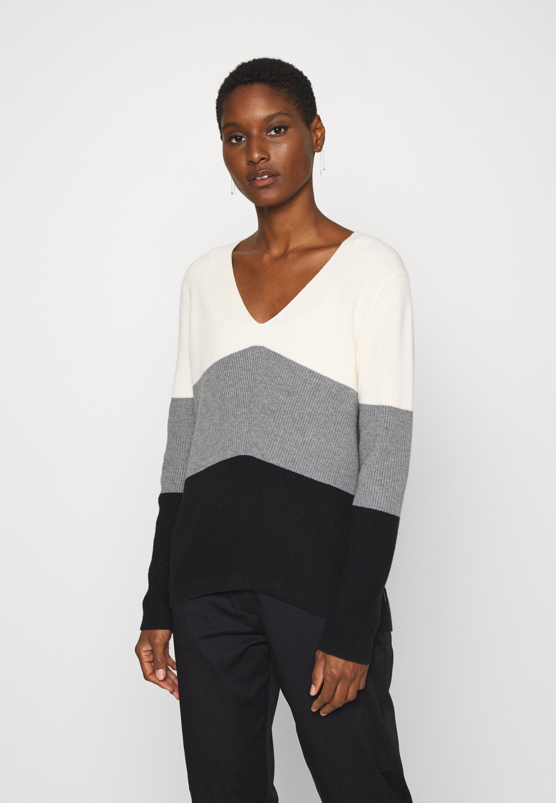 Super Specials Women's Clothing Calvin Klein COLOR BLOCK Jumper black/mid grey/white CrgJC3Cy2