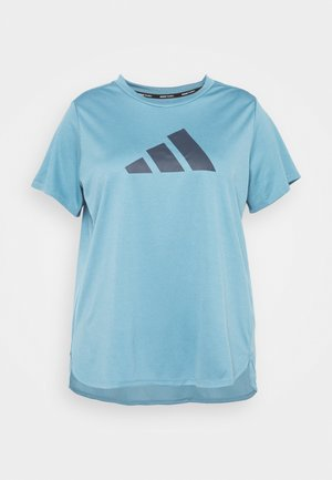 LOGO TEE - Camiseta estampada - hazy blue/crew navy