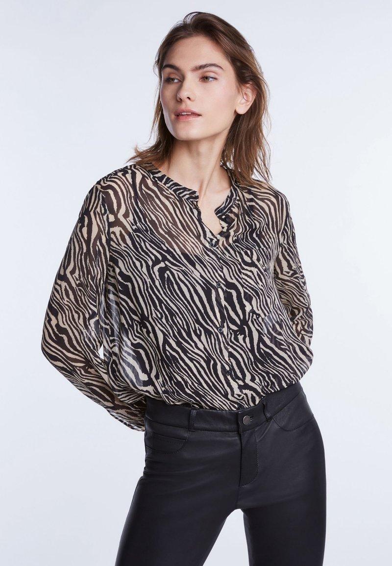 SET - Button-down blouse - black/white