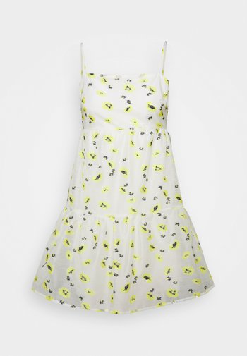 FLOWER ORGANZA MINI DRESS - Denní šaty - white