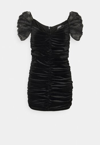 RUCHED DETAIL DOBBY SLEEVE DRESS - Cocktail dress / Party dress - black