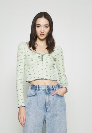 POINTELLE DITSY - Long sleeved top - green