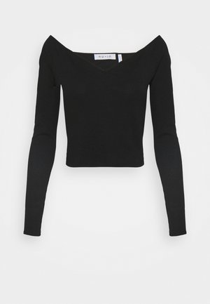 OFF SHOULDER HEART NECK - Long sleeved top - black