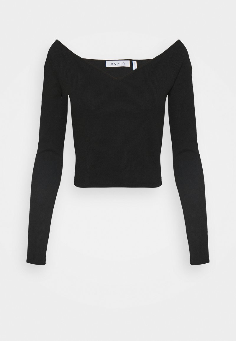 NU-IN - OFF SHOULDER HEART NECK - Long sleeved top - black
