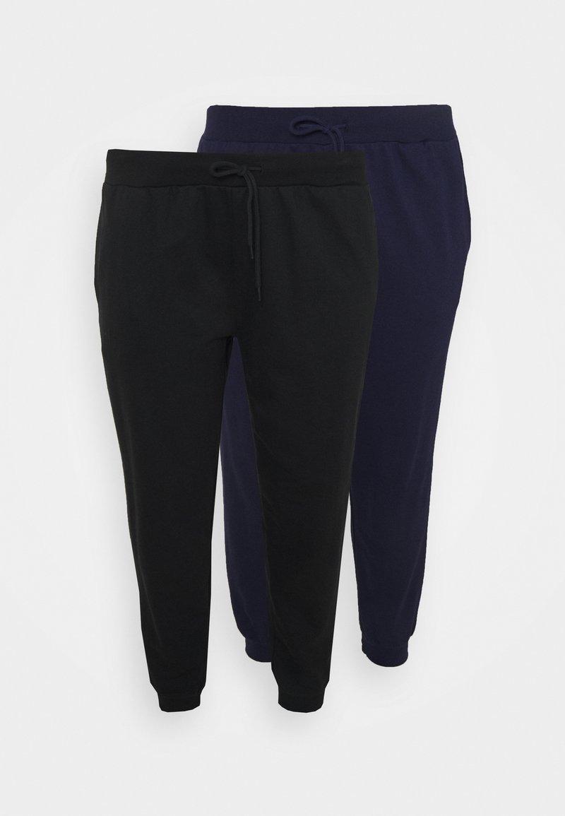 Even&Odd Curvy - 2er PACK - SLIM FIT JOGGERS - Tracksuit bottoms - black/blue