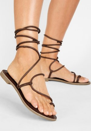 T-bar sandals - brown brn