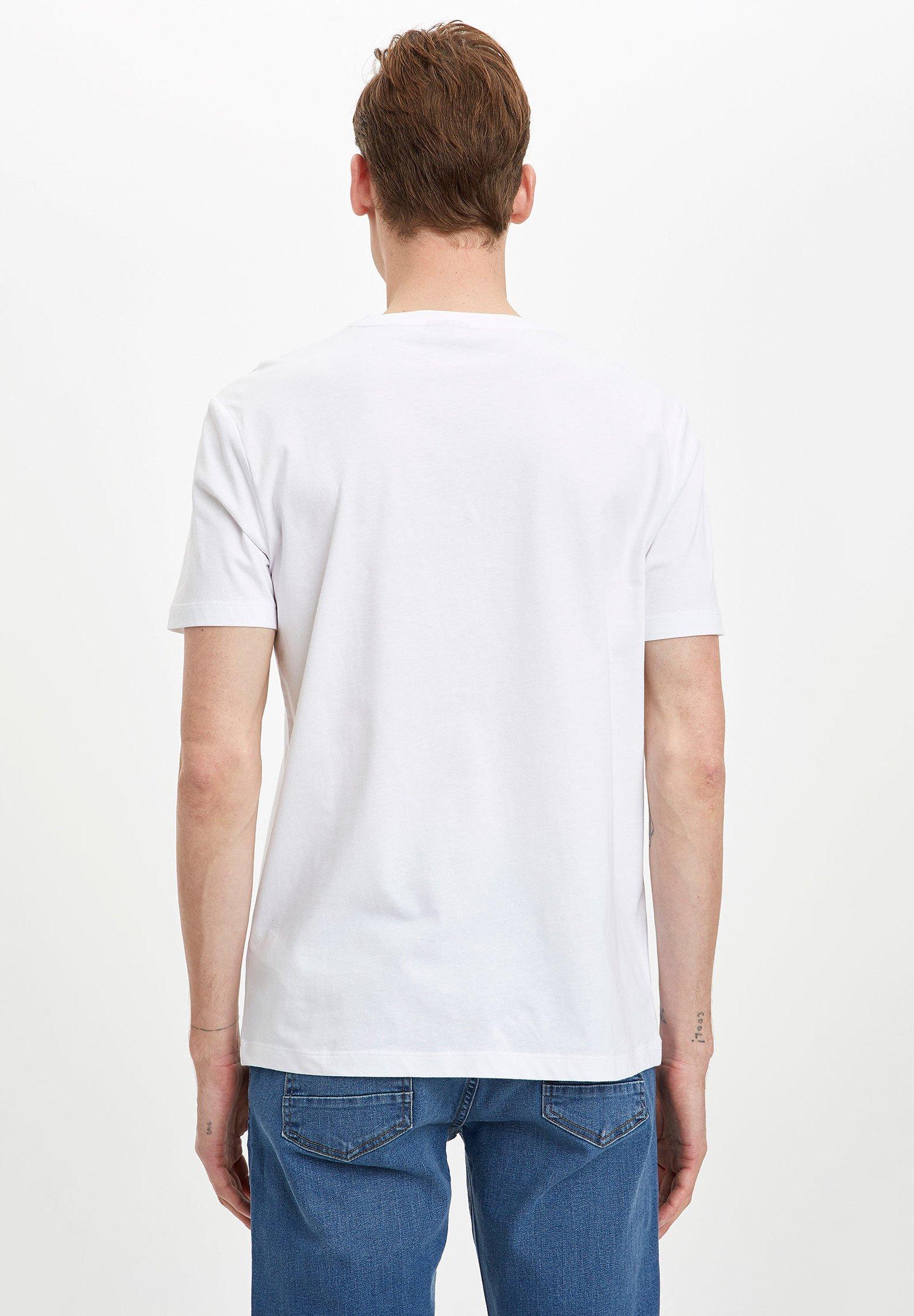 DeFacto DEFACTO MAN INDIGO - Print T-shirt - white eLtEl