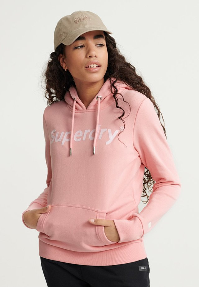 REGULAR FLOCK LOOPBACK - Bluza z kapturem - ballet pink