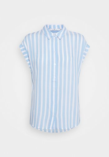Button-down blouse - blue/off-white