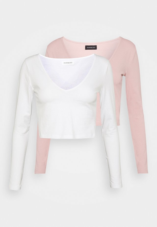 2 PACK - Long sleeved top - pale mauve/white