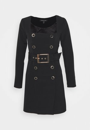 BROOKLYN BUCKLE BLAZER DRESS - Shirt dress - black