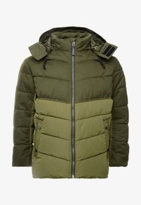 TOM TAILOR MEN PLUS - PUFFER JACKET WITH HOOD - Light jacket - olive drap - 5