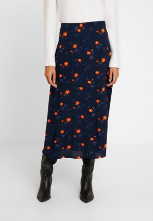 PRINTED SKIRT - A-line skirt - navy/orange