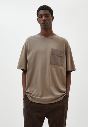 Print T-shirt - mottled brown