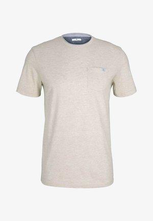 FINELINER WITH POCKET - T-shirt basic - sandy beige fine stripe