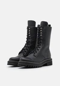 Steven New York - FLORCAP - Šněrovací vysoké boty - black - 2