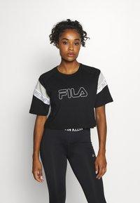 Fila - LOLLE - Print T-shirt - black/light grey melange/bright white - 0