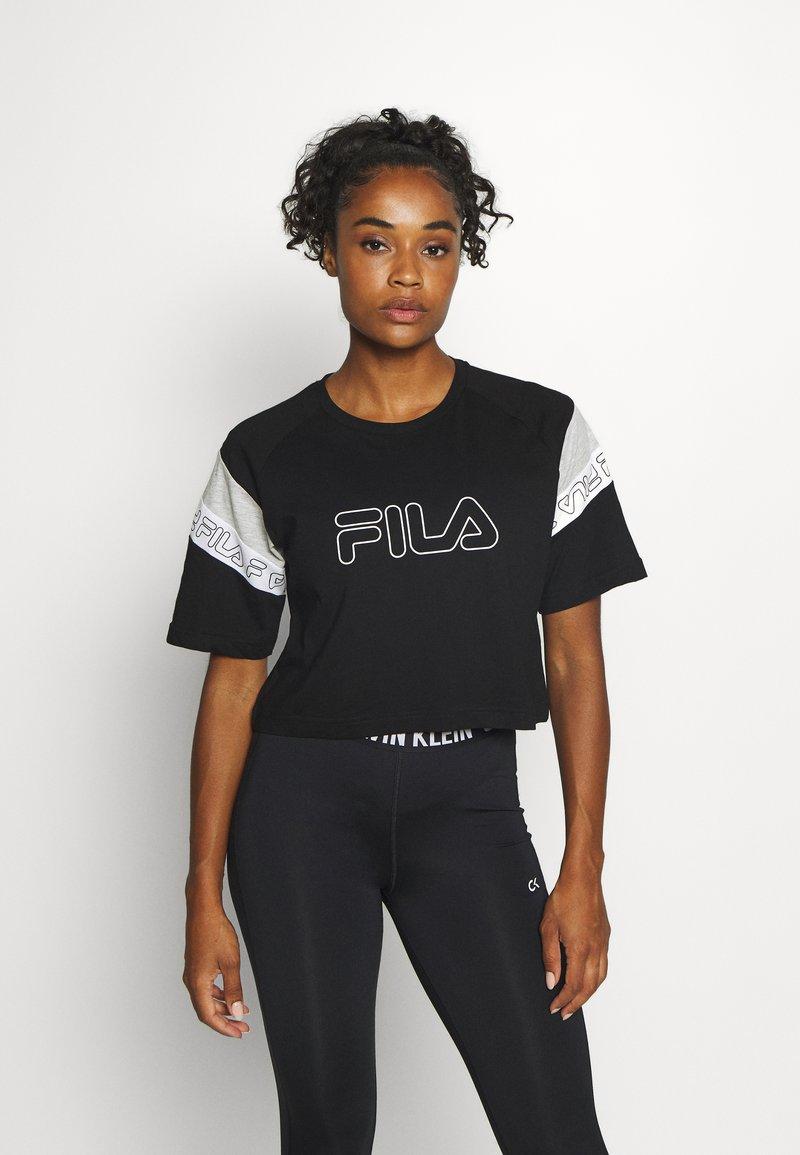 Fila - LOLLE - Print T-shirt - black/light grey melange/bright white