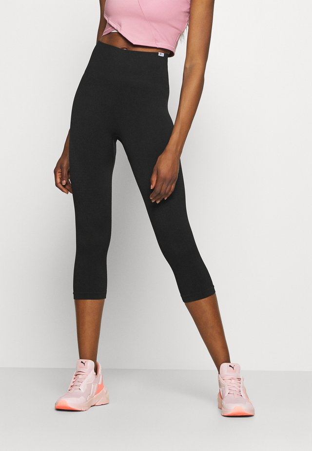 SEAMLESS DAMEN CAPRI BLOOM - Legging - schwarz