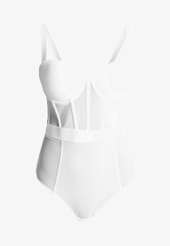 SHEERS CUPPED STRAPLESS BODYSUIT